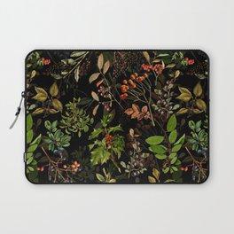 Vintage & Shabby Chic - vintage botanical wildflowers and berries on black Laptop Sleeve