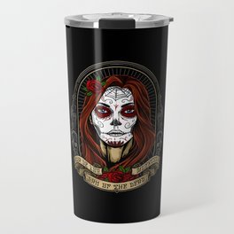 Dia De Los Muertos Girl Face Painting Travel Mug