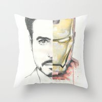 ironman Throw Pillows featuring Ironman by Dave Seedhouse.com