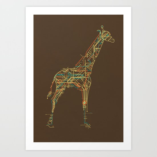 Electric Giraffe Art Print