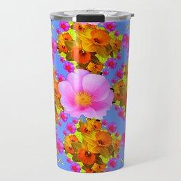 Blue Art Pink Roses Gold Daffodils Travel Mug