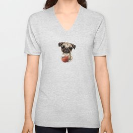 Cute Pug Puppy Dog Playing With Basketball Unisex V-Neck