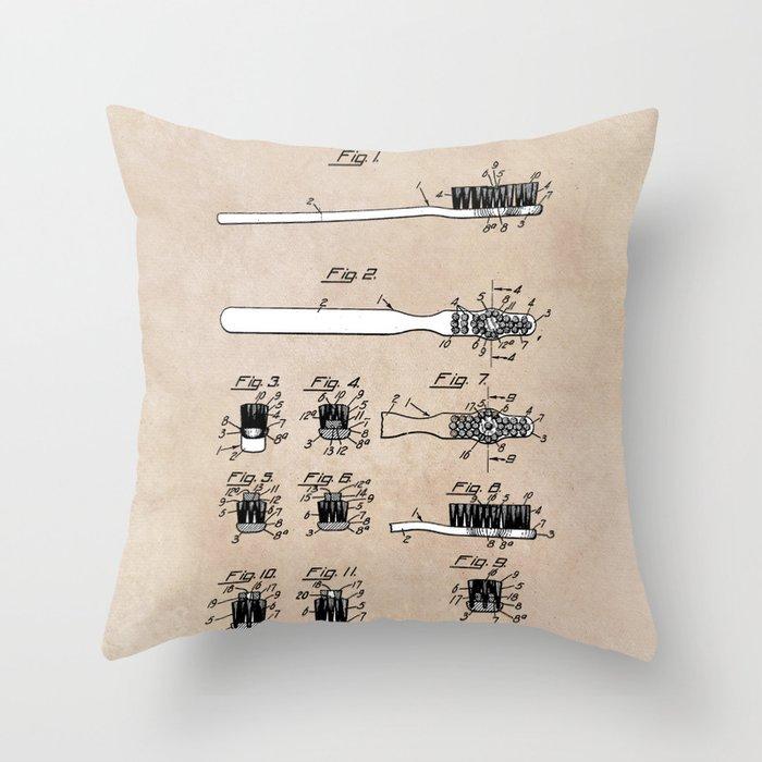 patent art Wolcott Toothbrush 1938 Throw Pillow