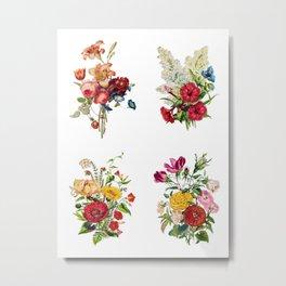 Antique Heirloom Flower Bouquet Copperplate Engraving Original Aquatint Watercolor, Group of 4, PNG set 1 Metal Print