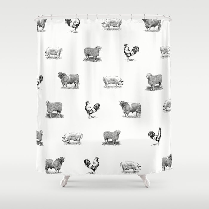 Farm Animals Black White Shower Curtain
