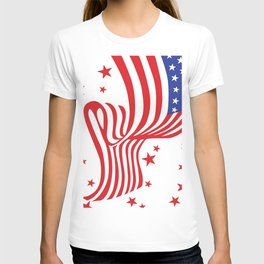 AMERICAN FLAG  & RED STARS JULY 4TH ART T-shirt