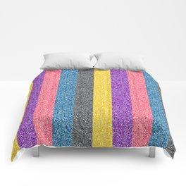 Multi-Color Glitter Striped Pattern Comforters