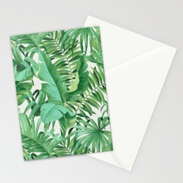 Green tropical leaves III Stationery Cards