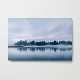 Peaceful blue morning in the crystal clear waters of the river Metal Print