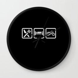 Eat Sleep Motorcycling - Biker Design Wall Clock