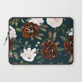 Autumn is calling - rust and blush roses on petrol Laptop Sleeve