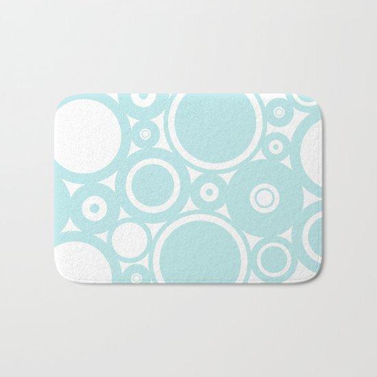 Blue dots and circles - abstract patterns - aqua Bath Mat
