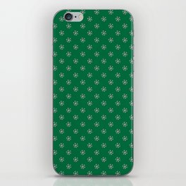 Cotton Candy Pink on Cadmium Green Snowflakes iPhone Skin
