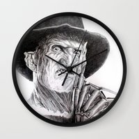 freddy krueger Wall Clocks featuring Freddy krueger nightmare on elm street by calibos