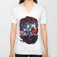 magneto V-neck T-shirts featuring Magneto vs Megatron by Larrydraws