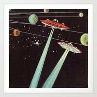 aliens Art Prints featuring Aliens  by dreamshade