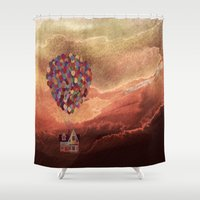 pixar Shower Curtains featuring Pixar Up! in the Clouds by foreverwars