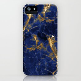 Blue Majestic Marble With 24-Karat Gold Hue Veins iPhone Case
