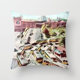 Providence Pullman Trolleys - Union Station Providence, RI 1935 Landscape Painting by Jeanpaul Ferro Throw Pillow