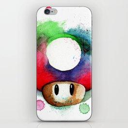 1UP Mushroom MArio Game Watercolor art Print iPhone Skin