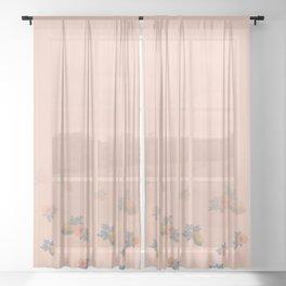 Pa Pa Papaya on Blue Sheer Curtain