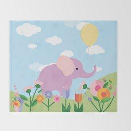 Purple Elephant and Balloons, nursery decor , Throw Blanket