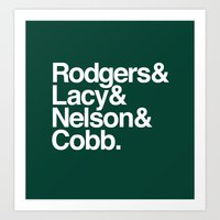 packers Art Prints featuring Packers List by Devilbear Designs