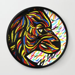 Colorful Lion Art  Wall Clock