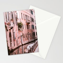 Venice pink canal with old buildings travel photography Stationery Cards