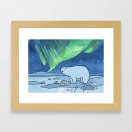 Polar Bear and Northern Lights Framed Art Print