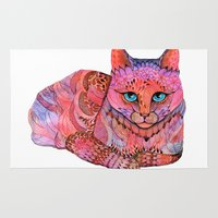 sunset Area & Throw Rugs featuring SUNSET CAT by Ola Liola