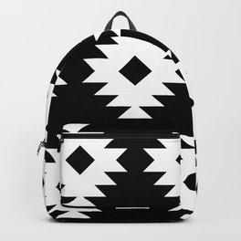 Southwestern Pattern 821 Black and White Backpack
