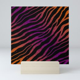 Ripped SpaceTime Stripes - Orange/Purple Mini Art Print