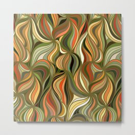 Boho Green & Red Wave Pattern Metal Print