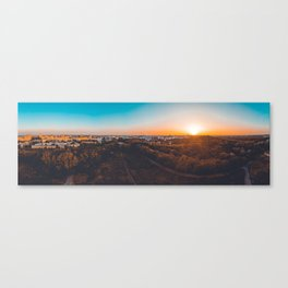180 degree panorama of berlin taken by a drone in the afternoon Canvas Print