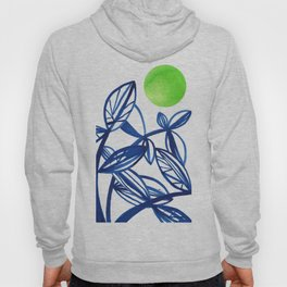 Navy blue and lime green abstract leaves Hoody