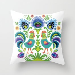 Polish Folk Design Two Roosters Throw Pillow