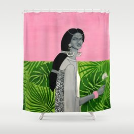 girl with a flower Shower Curtain