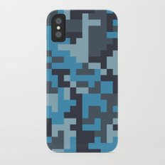 Blue and Grey Pixel Camo pattern Slim Case iPhone X