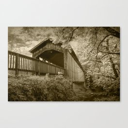 Sepia Toned Photograph of the Covered Bridge on the Thornapple River in Ada Michigan Canvas Print
