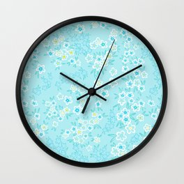 Forget Me Knot - Little Flowers on aqua Wall Clock