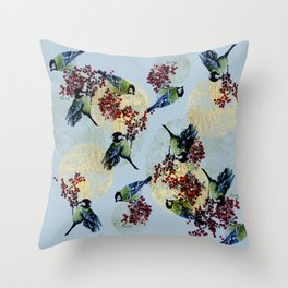 Little Blue Birds Throw Pillow