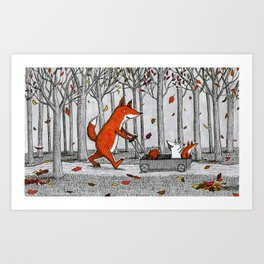 Fox Family Enjoying the Fall Leaves Art Print