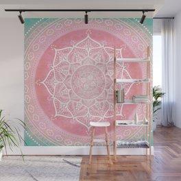 Bohemian Blush Pink & Teal Mandala Wall Mural