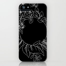 Black Floral Circle iPhone Case