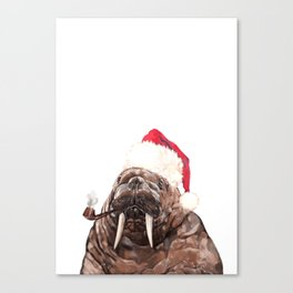 Christmas Daddy Walrus Canvas Print
