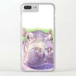 Purple Hippo Clear iPhone Case