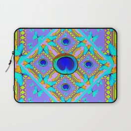 Pastel Turquoise Butterflies & Lilac Pattern Laptop Sleeve