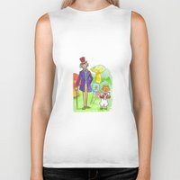 willy wonka Biker Tanks featuring Pure Imagination: Willy Wonka & Oompa Loompa by Michael Richey White by lost robot