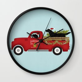 Black lab dog labrador christmas tree farm vintage red truck Wall Clock
